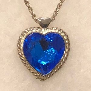 Royal Blue Silver Tone Heart Pendent